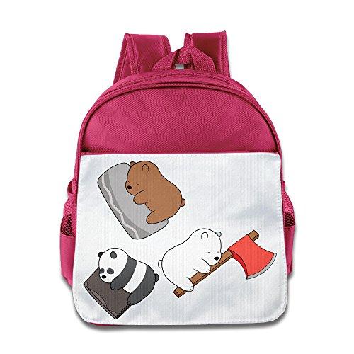 XJBD Custom Funny Cute Bear Teenager School Bag Backpack For 1-6 Years Old Pink