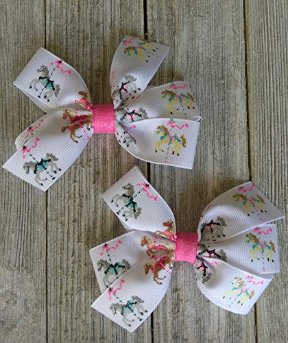 Carousel hair bow, horses, merry go round bow, glitter for sale  Delivered anywhere in USA