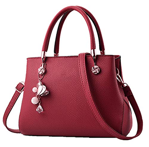 Handbags for Women Fashion Ladies Purses PU Leather Satchel Shoulder Tote Bags (Red2)