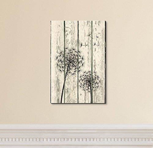 Dandelion on Vintage Wood Board Background Rustic ation