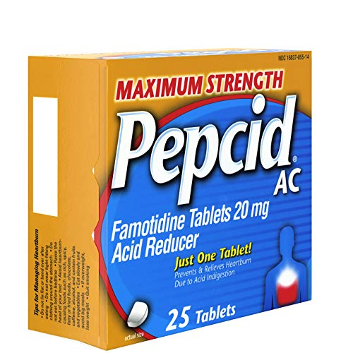 Amazon.com : Pepcid AC Maximum Strength with 20 mg Famotidine for All-Day Heartburn Prevention & Relief, 25 ct. : Antacids : Grocery & Gourmet Food
