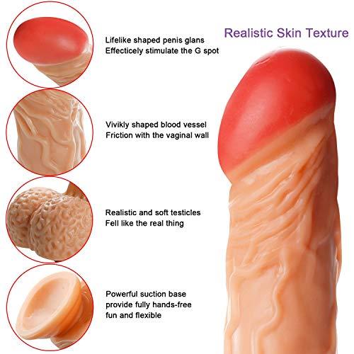 Suction 16 Pollici Piel Placer Cock Realista Canela Flesh 14 8 Cup Sycnm Pulgadas Silicon Dildo qPzSza
