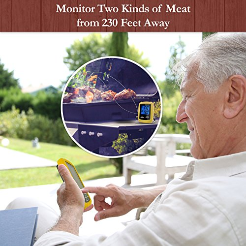 Instant Read Wireless Digital Cooking Food Meat Thermometer with Dual Probes for Indoor Kitchen, Outdoor BBQ Grill Oven Electronic Thermometer by Chicago Brick Oven (Image #1)'