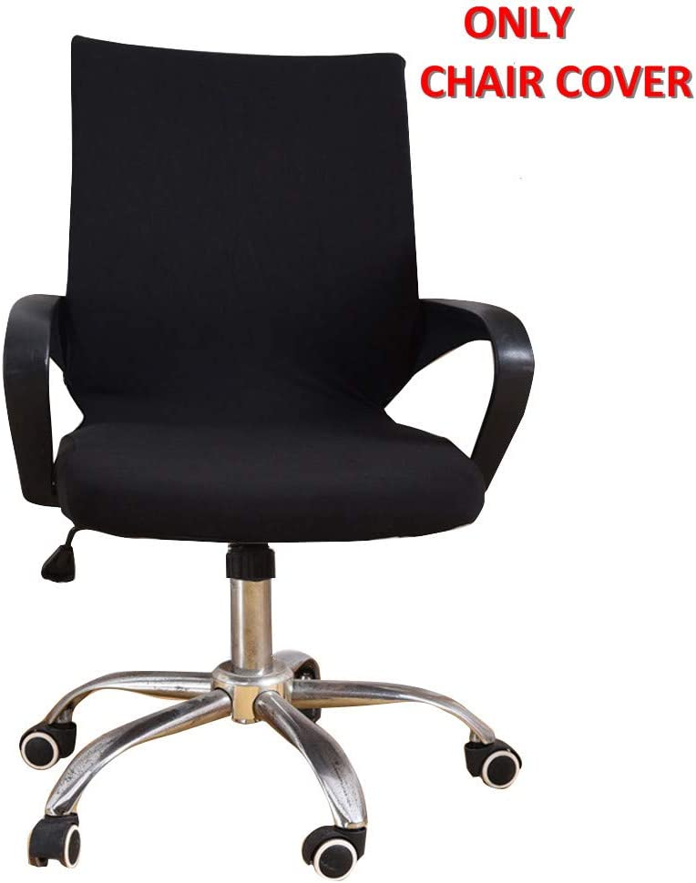 Deisy Dee Universal Computer Office Rotating Stretch Polyester Mid Back Function Chair Cover C111 (Black)