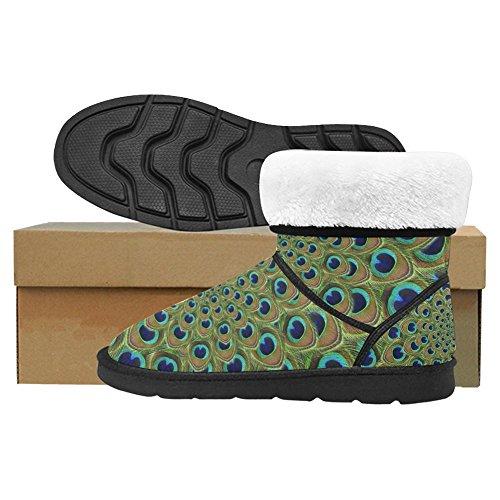 Snow Stivali Da Donna Interesse Unico Progettato Inverno Comfort Stivali Di Pavone Con Splendide Piume Multi 1