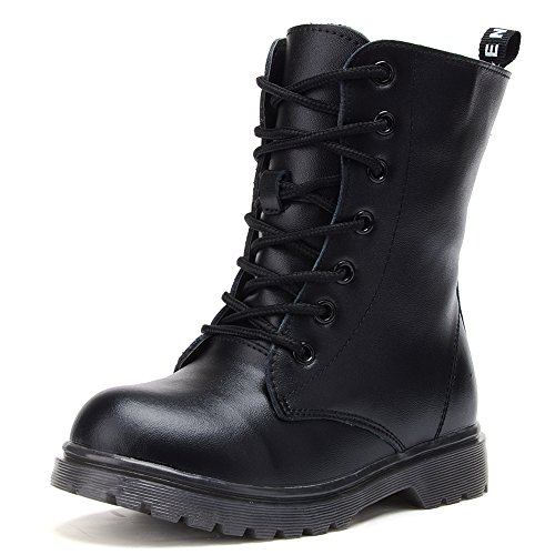UBELLA Kids Boys Girls Black Leather High Top Zipper Lace-Up Martin Boots Combat Riding Boots ()