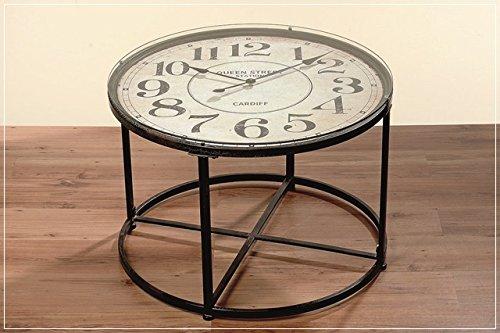 Couchtisch Mit Uhr Beistelltisch Durchm 80 Glasplatte Metallgestell
