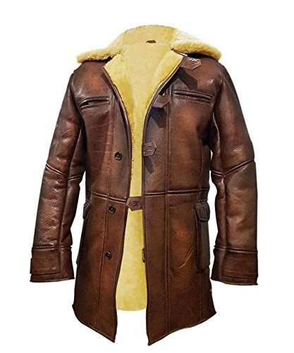 NM Fashions Tom Hardy Bane Dark Knight Lambskin Shearling Genuine Leather Pea Coat (XXX-Large, Leather with Stylish Yellow Fur Lining) (Coat Shearling Leather)