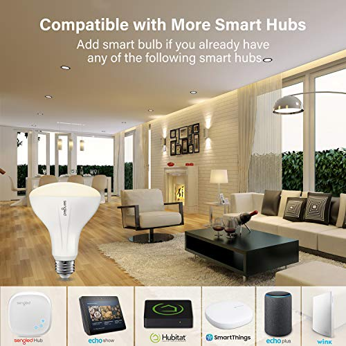 Sengled Smart Light Bulb, Smart Bulbs that work with Alexa, Google Home (Smart Hub Required), Smart Bulb BR30 Alexa Light Bulbs, 650LM Soft White (2700K), BR30 Dimmable, 9W (65W Equivalent), 4 Pack