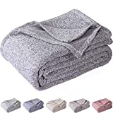 KAWAHOME Knit Summer Blanket Heather Lightweight Fuzzy Jersey Blankets All Season for Couch Sofa Bed Oversized King Size 108 X 90 Inches Grey and White