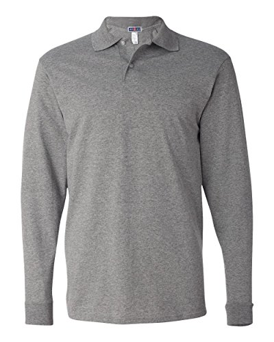 Long Sleeve Two Button Oxford Shirt (Jerzees Spotshield Adult Long Sleeve Jersey Sport Shirt (Oxford) (M))