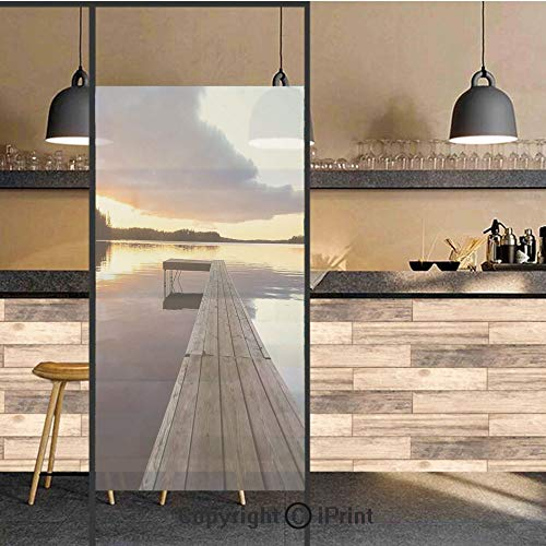 (3D Decorative Privacy Window Films,View of Sunset over an Old Oak Deck Pier and Calm Water of the Lake Horizon Serenity,No-Glue Self Static Cling Glass film for Home Bedroom Bathroom)