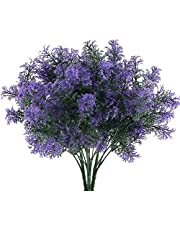 NAHUAA 4pcs Plantas Artificiales Decoracion Exterior Arbustos Falsa 7 Ramas con Hojas Púrpura de Plásticas Decoración Jarrones Patio Jardín Oficina