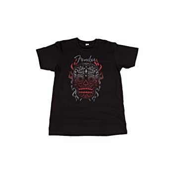 94e9a1acf Fender Official Black Day of the Dead Skull Mens Small T-Shirt:  Amazon.co.uk: Musical Instruments