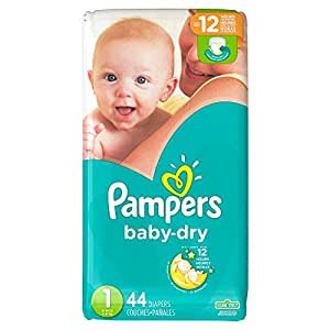 Pampers Baby-Dry Disposable Diapers Size 1, 44 Count, JUMBO