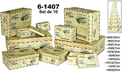 DONREGALOWEB Set 10 Cajas de cartón Decorado con Sellos Surtido en tamaño: Amazon.es: Hogar