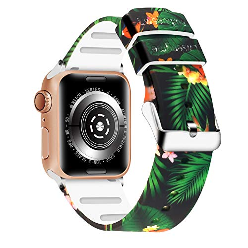 Lwsengme Compatible with Apple Watch Band 38mm/40mm, 42mm/44mm,Soft Silicone Flower & Skull Pattern Replacement Bands Compatible with iWatch Series 4/3/2/1,Watch Nike+,Sport