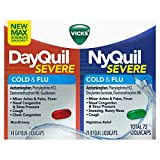 Vicks DayQuil and NyQuil Severe Cough, Cold & Flu Relief, 24ct LiquiCaps (16 DayQuil & 8 NyQuil) - Relieves Sore Throat, Fever, and Congestion, Day or Night