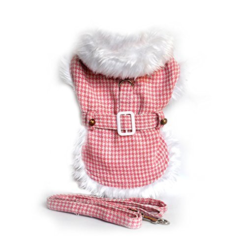 Doggie Design Pink Houndstooth/white Fur Harness Coat W/leash Size Large (Chest 19-21 Neck 16-19, pets weighing 16-32 LBS.)