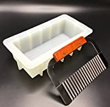 """Loaf Soap Silicone Mold With Wavy Soap Cutter ~ 8"""" Rectangular White Mold 40 to 44 oz and for DIY Soap Making ~ By Cafolo"""