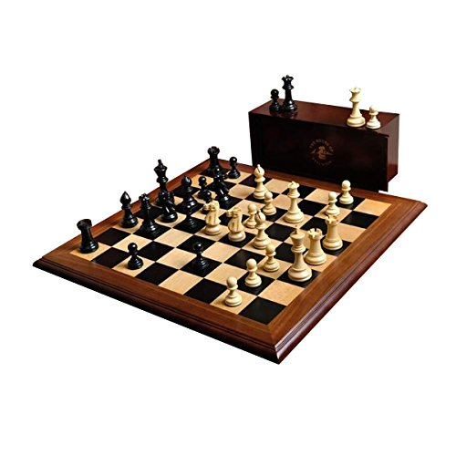 (The House of Staunton The Superior Grandmaster Chess Set, Box, and Board Combination - Ebonized Boxwood and Natural Boxwood)