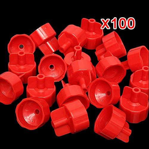100pcs Professional Ceramic Tile Flat Leveling System Wall Floor Spacer-Flooring Level Strap Clips Wedges Caps Device Base Tools (Red Caps (100PCS))