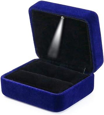 GBYAN Caja de Terciopelo para Anillo con luz LED Caja de Regalo ...
