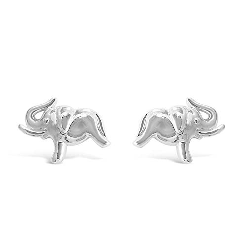 6dace4bbe2300 Amazon.com: 925 Solid Sterling Silver Small Lucky Elephant Stud ...