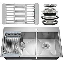 "Firebird 32"" x 18"" x 9"" 18 Gauge Handmade Stainless Steel 60/40 Double Bowl Basin Topmount Drop-In Kitchen Sink Faucet Hole w/ Drain & Adjustable Dish Tray"