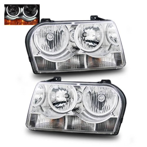 SPPC Headlights Chrome Assembly Set (CCFL Halo) For Chrysler 300 - (Pair) Driver Left and Passenger Right Side Replacement ()