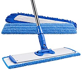 18″ Professional Microfiber Mop | Adjustable Stainless Steel Handle | 3 Premium Mop Pads + 2 Free Microfiber Cloths | Perfect for Wet and Dust Mopping Hardwood, Laminate, Concrete, Tile, Stone, Vinyl