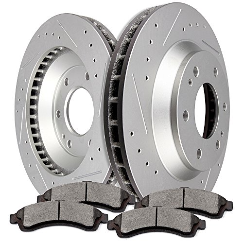 SCITOO 2pcs Slotted Drilled Brake Discs Rotors and 4pcs Ceramic Disc Brake Pads Brakes Kit fit for Buick Rainier,Chevrolet Trailblazer,GMC Envoy,Isuzu Ascender, Oldsmobile Bravada