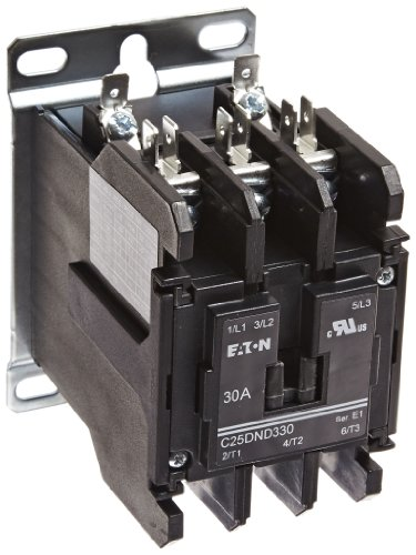Coil 480vac Contactor Single Pole (Eaton C25DND330T Definite Purpose Contactor, 50mm, 3 Poles, Screw/Pressure Plate, Quick Connect Side By Side Terminals, 30A Current Rating, 2 Max HP Single Phase at 115V, 10 Max HP Three Phase at 230V, 15 Max HP Three Phase at 480V, 24VAC Coil Voltage)