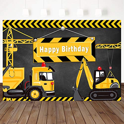 Mehofoto Happy Birthday Background Construction Theme Backdrop Yellow Digger Trucks Backdrops 7X5ft Vinyl Backdrops Boys Birthday Party Decoration Photography Background ()
