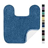Maples Rugs Bathroom Colorsoft 20' x 21.5' Non Slip Washable Contour Toilet Rug [Made in USA] Soft & Quick Dry for Bath Floor Federal Blue