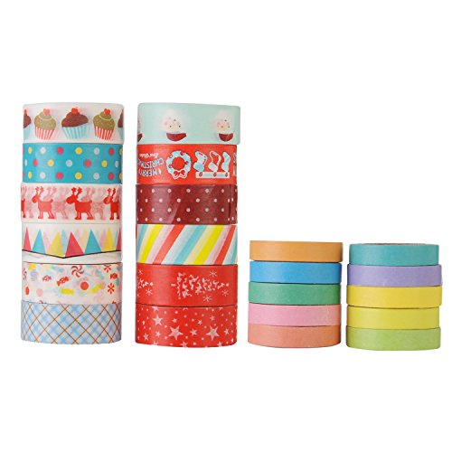GWHOLE Decorative Washi Masking Tape Set for DIY Craft Scrapbooking and Gift Wrapping, Set of (Fabric Day Planner)