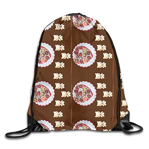Chocolate Platter And Chocolate Bunny Lace (in Brown Colorway) Drawstring Shoulder Bags Gym Bag Travel Backpack Lightweight Gym