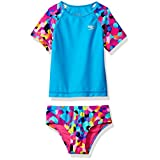 Speedo Printed Short Sleeve Rash Guard Swim T-Shirt Two Piece Swim Set