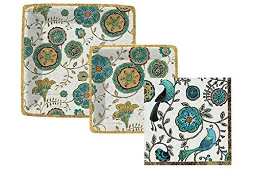 Peacock Themed Party Pack Bundle Includes Paper Plates and Napkins for 8 Guests in a Bohemianstyle Floral Peacock Print