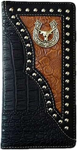 Longhorn Men Wallet Western Bifold Check Book Style W011-6 Crocodile Black
