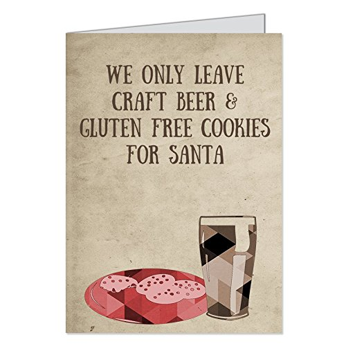 Hipster Christmas Cards, Holiday, Gluten Free, Cookies, Beer, Santa, Ironic, Funny Greeting Cards with Envelopes, Set of 12 Printed cards,
