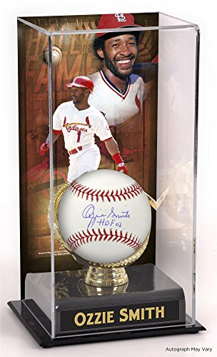 Ozzie Smith St. Louis Cardinals Autographed Baseball with HOF Inscription and Hall of Fame Sublimated Display Case with Image - Fanatics Authentic ()