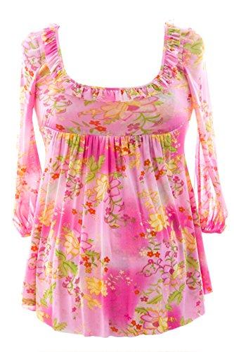 Olian Women's 3/4 Blouson Sleeve Babydoll Maternity Top X-Small Pink Multi - Olian Maternity 3/4 Sleeve Top