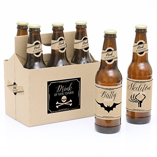 (Vintage Halloween - Halloween Party Decorations for Women and Men - 6 Beer Bottle Label Stickers and 1)