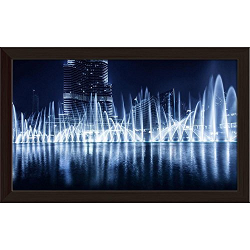 ArtzFolio Dubai at Night Evening Cityscape, UAE Canvas Painting Dark Brown Frame 9.2 x 6inch