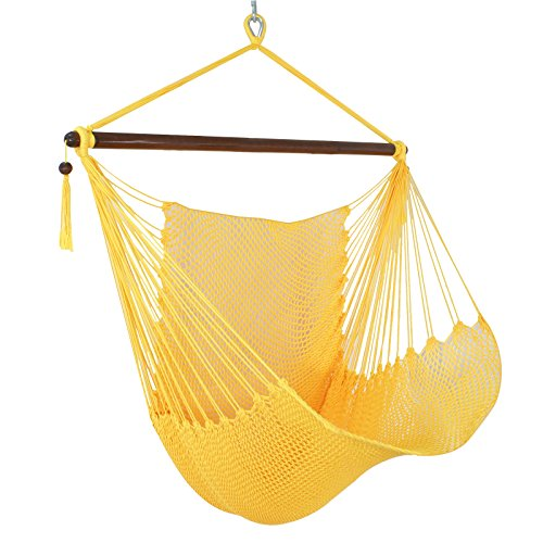 Large 48 Caribbean Hammock Chair Hanging Chair Swing with Footrest Wood Bar – Soft Polyester – Indoor Outdoor Porch, Yard, Patio and Bedroom