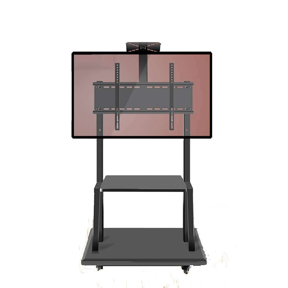 フラットパネルLED LCDプラズマスクリーン寝室用リビングルーム展覧会のために移動可能な車輪で調節可能な32-75インチの高さのためのモバイルTVディスプレイフロアスタンド B07S6627L5