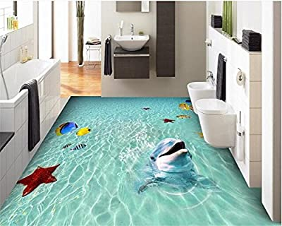 ShAH Custom Floor 3D Wallpaper Mural Floor Sticker Beach Sea Water Tropical Fish Starfish Dolphin Bathroom Bedroom 3D Floor Waterproof 3D Wallpaper Mural Floor Sticker