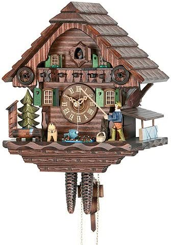 German Cuckoo Clock 1-day-movement Chalet-Style 13.00 inch – Authentic black forest cuckoo clock by Hekas