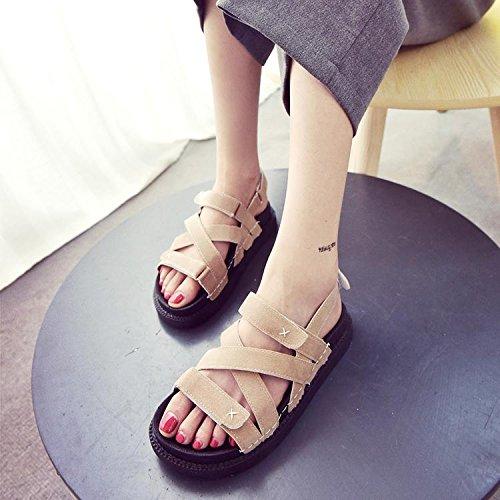 LvYuan Sandales d'été pour femmes / Confort Mode décontractée / Autocollants magiques / Chaussures en calin / bas en gros épais / chaussures romaines apricot g8eeYB456I